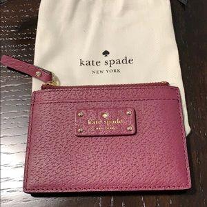 Burgundy Kate spade leather card holder